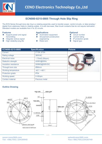 CENO Hollow shaft slip ring ECN080-0215-0805