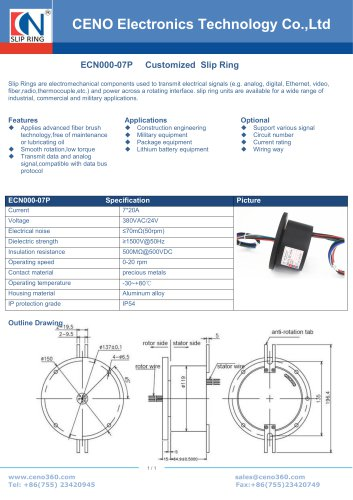 CENO hollow shaft slip ring with power channel ECN000-07P