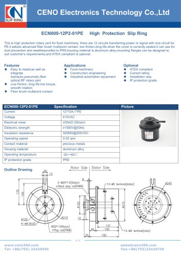 CENO IP65 slip ring ECN000-12P2-01PE