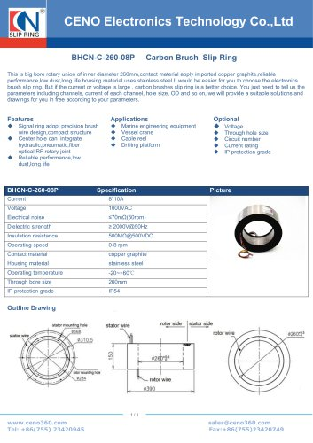 CENO Large size slip ring with 260mm hole BHCN-C-260-08P