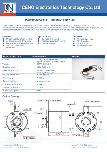 CENO Multi channel Ethernet slip ring ECN025-20P2-38S