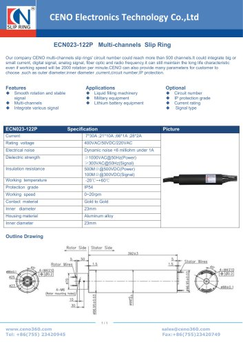 CENO Multi-channels Slip Ring ECN023-122P