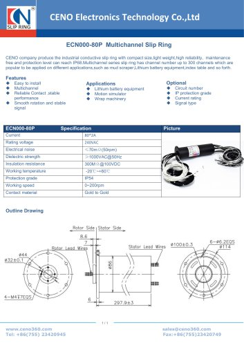 CENO Multichannel Slip Ring ECN000-80P