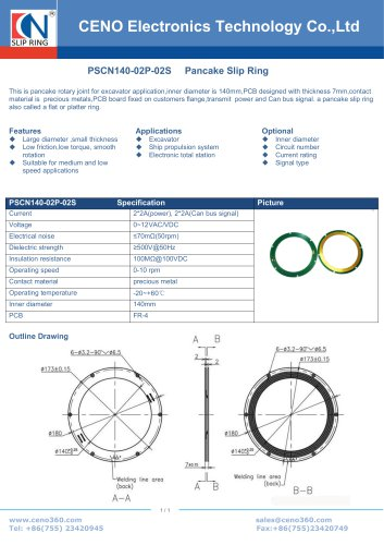 CENO Pancake slip ring with 140mm hole PSCN140-02P-02S