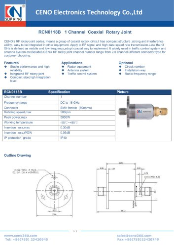 CENO Single Channel Coaxial Rotary Joint RCN0118B