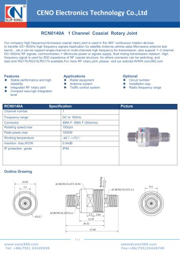 CENO Single Channel Coaxial  Rotary Joint RCN0140A