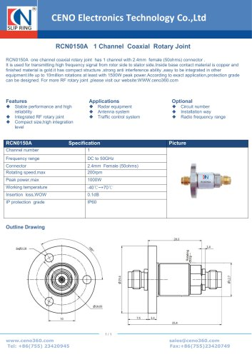 CENO Single Channel  Coaxial  Rotary Joint RCN0150A