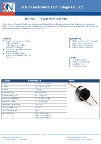 CENO Through Hole Slip Ring ECN038