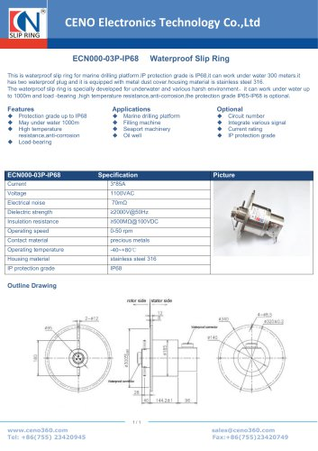 CENO Waterproof Slip Ring ECN000-03P-IP68