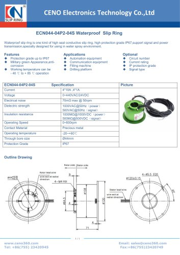 CENO waterproof slip ring ECN044-04P2-04S IP67