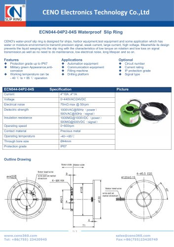 CENO Waterproof Slip Ring IP67 ECN044-04P2-04S