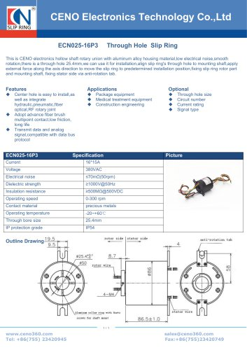 ECN025-16P3 Through Hole Slip Ring