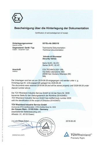Certification ATEX 2014/34/EU