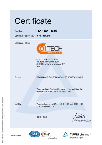 Certification ISO 14001:2015
