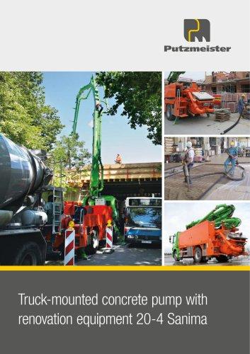 Truck-mounted concrete pump with  renovation equipment 20-4 Sanima