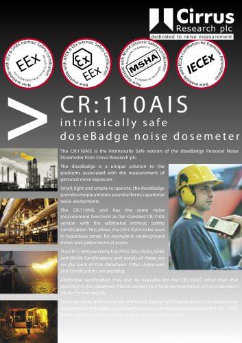 CR:110AIS Intrinsically Safe doseBadge Noise Dosemeter