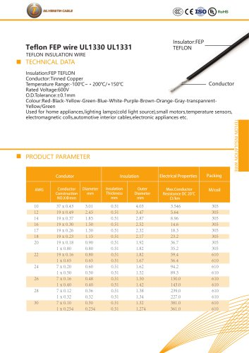 Teflon FEP wire UL1330 UL1331