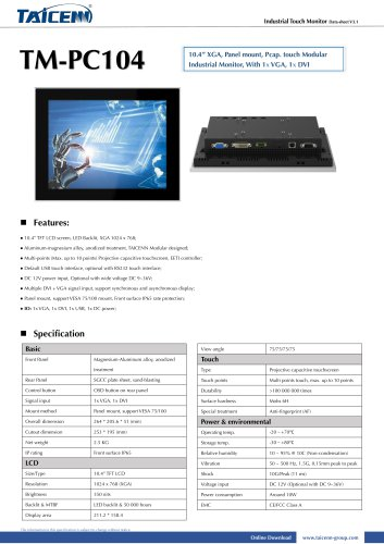 TAICENN/industrial monitor/TM-PC104