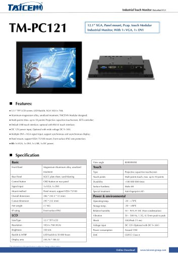 TAICENN/industrial monitor/TM-PC121