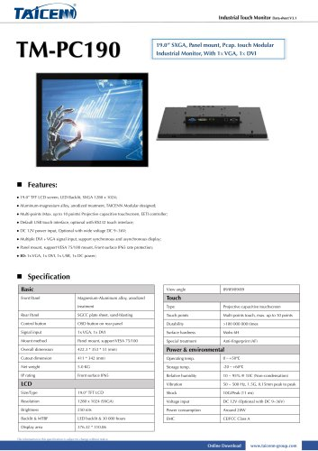 TAICENN/Industrial monitor/TM-PC190
