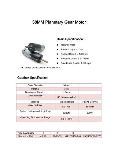 DC motor datesheet 38mm 5-1500rpm,0-10Nm,12v,24v,3v,9
