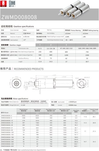 Gear Reducers Motor 8MM MD