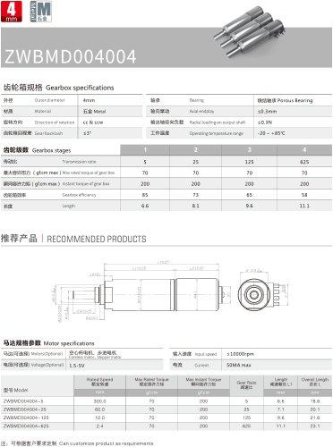 Stepper Gear Motor Datesheet 4mm MD