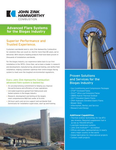 Advanced Flare Systems for the Biogas Industry