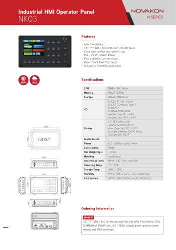 Industrial HMI Operator Panel NK03