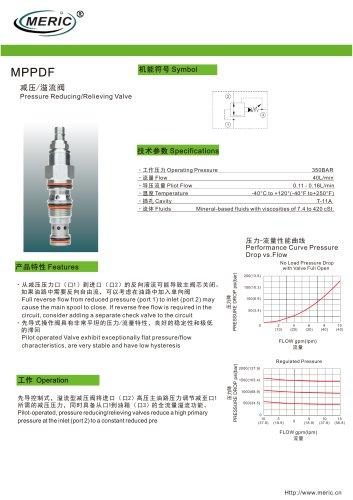 Cartridge pressure relief valve MPPDF series