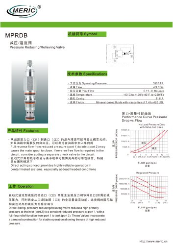 Cartridge pressure relief valve MPRDB series