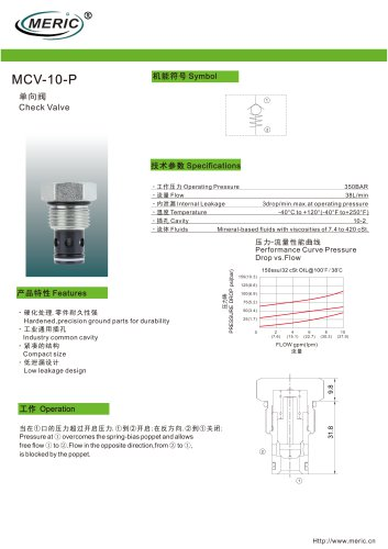 Poppet check valve MCV-10-P