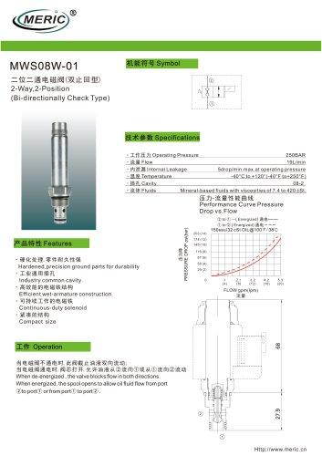 Poppet hydraulic directional control valve MWS08W-01