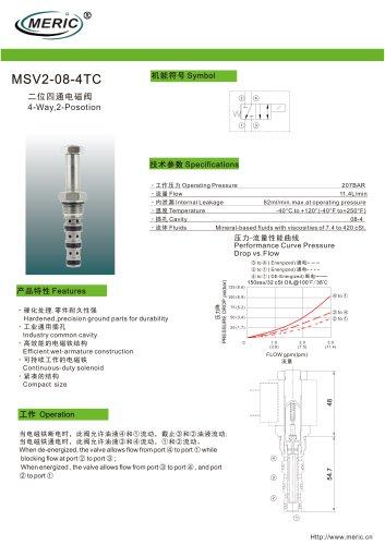 Spool hydraulic directional control valve MSV2-08-4TC