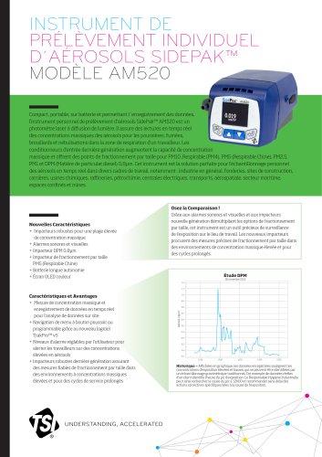 Specsheet PRÉLÈVEMENT INDIVIDUEL D´AÉROSOLS SIDEPAK™ MODÈLE AM520