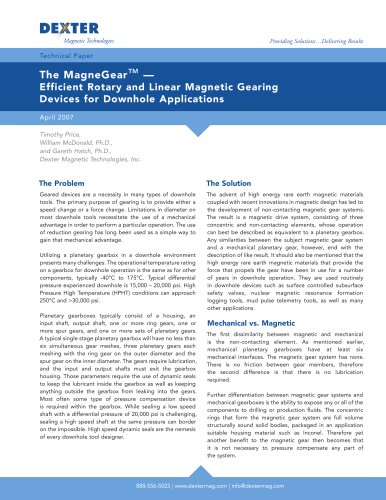 MagneGear Linear and Rotary Magnetic Gears Technical Paper