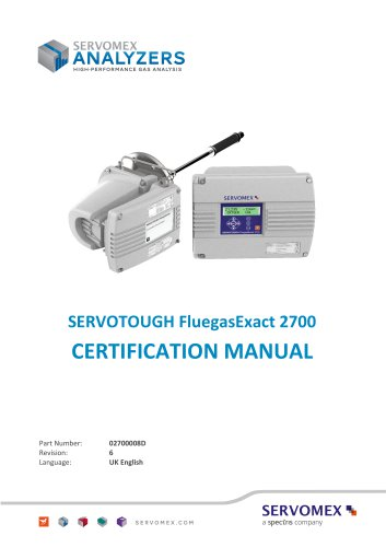 SERVOTOUGH FluegasExact 2700 Certification Manual 02700008D_6
