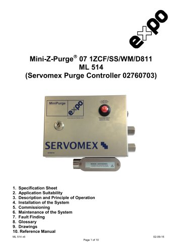 SERVOTOUGH FluegasExact 2700 MiniPurge Installation Manual for Class 1 Div 2