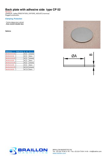 Back plate with adhesive side type CP 02
