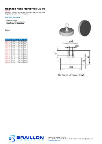 Magnetic hook round type CM 01