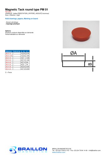 Magnetic Tack round type PM 01