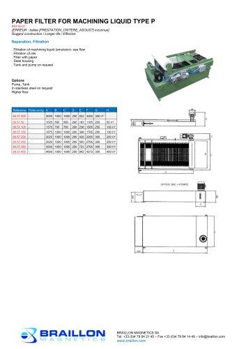 PAPER FILTER FOR MACHINING LIQUID TYPE P
