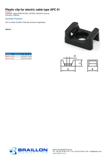 Plastic clip for electric cable type APC 01