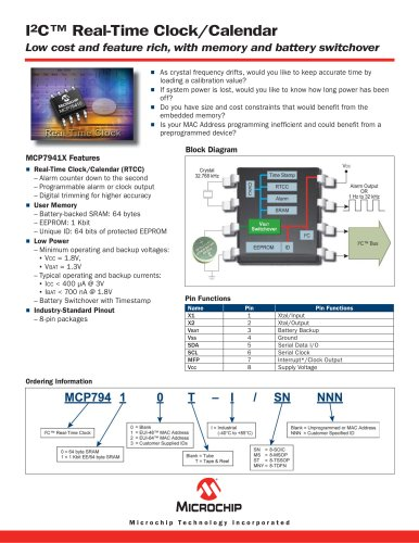 MCP794XX I2C™ RTCC Brochure