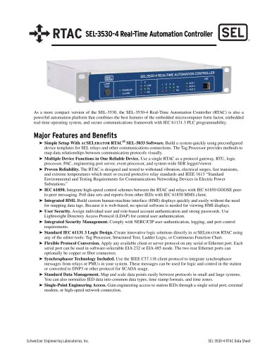 RTAC SEL-3530-4 Real-Time Automation Controller