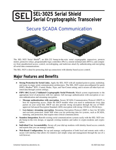 SEL-3025 Serial Shield Serial Cryptographic Transceiver