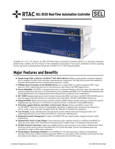 SEL-3530 Real-Time Automation Controller (RTAC)