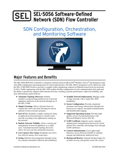 SEL-5056 Software-Defined Network (SDN) Flow Controller