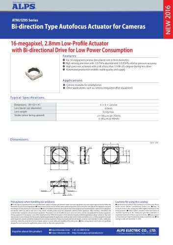 Bi-direction Type Autofocus Actuator for Cameras ATMJ1Z95 Series