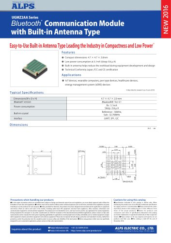 Bluetooth® Communication Module with Built-in Antenna Type UGMZ2AA Series